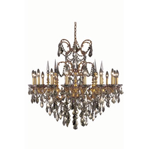 Athena French Gold Sixteen-Light Chandelier with Golden Teak/Smoky Royal Cut Crystals