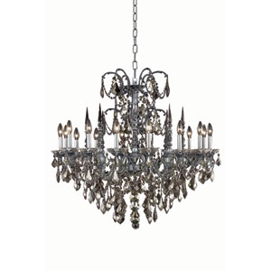 Athena Pewter Sixteen-Light Chandelier with Golden Teak/Smoky Royal Cut Crystals