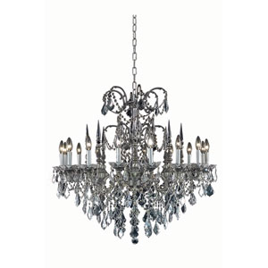 Athena Pewter Sixteen-Light Chandelier with Clear Royal Cut Crystals