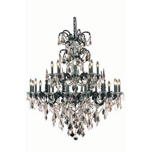 Athena Dark Bronze Twenty-Four Light Chandelier with Golden Teak/Smoky Royal Cut Crystals