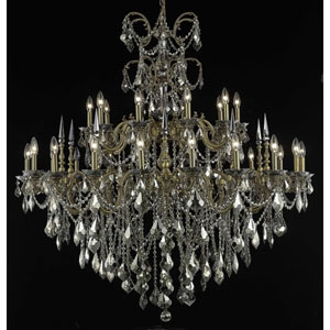 Athena French Gold Thirty-Light Chandelier with Golden Teak/Smoky Royal Cut Crystals