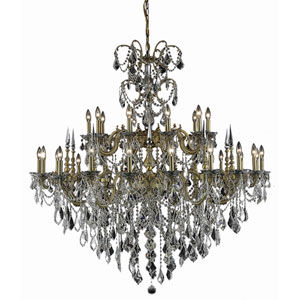 Athena French Gold Thirty-Light Chandelier with Clear Royal Cut Crystals