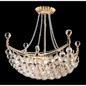 Corona Gold Eight-Light 20-Inch Semi Flush Mount with Royal Cut Clear Crystal