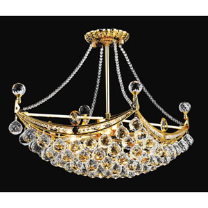 Corona Gold Six-Light 14-Inch Semi Flush Mount with Royal Cut Clear Crystal
