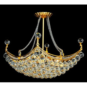 Corona Gold Eight-Light 16-Inch Semi Flush Mount with Royal Cut Clear Crystal