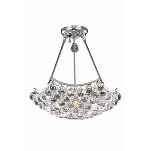 Corona Chrome Eight-Light Chandelier with Clear Elegant Cut Crystals