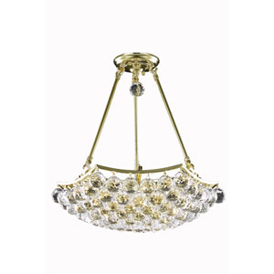 Corona Gold Eight-Light Chandelier with Clear Spectra Swarovski Crystals