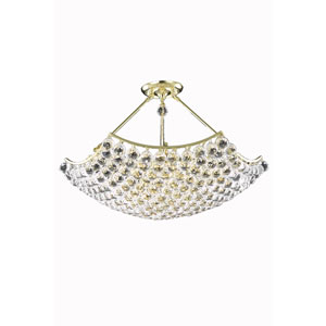 Corona Gold Twelve-Light Chandelier with Clear Royal Cut Crystals