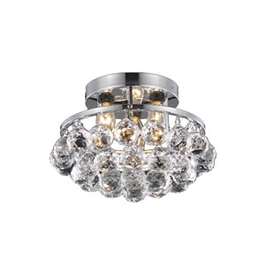 Corona Chrome Three-Light Semi-Flush Mount with Clear Royal Cut Crystals