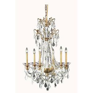 Imperia French Gold Six-Light Chandelier with Swarovski Strass Crystal