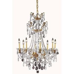 Imperia French Gold Eight-Light Chandelier with Swarovski Strass Crystal