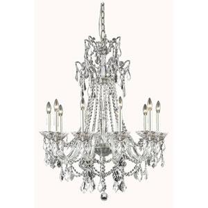 Imperia Pewter 10-Light Chandelier with Swarovski Strass Crystal