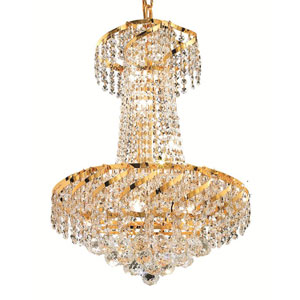 Belenus Gold Six-Light 18-Inch Chandelier with Royal Cut Clear Crystal