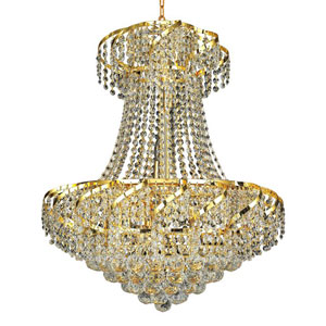 Belenus Gold Eleven-Light 22-Inch Chandelier with Royal Cut Clear Crystal
