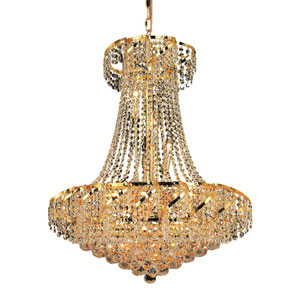 Belenus Gold Fifteen-Light 26-Inch Chandelier with Royal Cut Clear Crystal