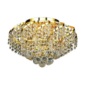 Belenus Gold Six-Light 16-Inch Flush Mount with Royal Cut Clear Crystal