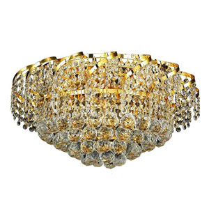 Belenus Gold Eight-Light 20-Inch Flush Mount with Royal Cut Clear Crystal
