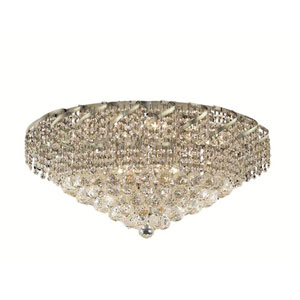Belenus Chrome Eighteen-Light 26-Inch Flush Mount with Royal Cut Clear Crystal