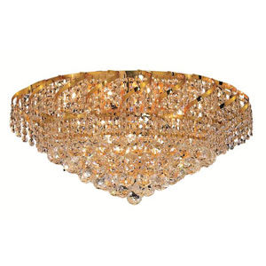 Belenus Gold Eighteen-Light 26-Inch Flush Mount with Royal Cut Clear Crystal