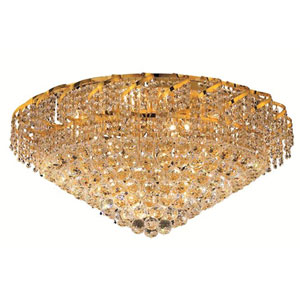 Belenus Gold Twenty-One Light 30-Inch Flush Mount with Royal Cut Clear Crystal