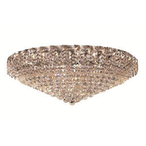 Belenus Chrome Twenty-Eight Light 36-Inch Flush Mount with Royal Cut Clear Crystal