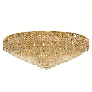 Belenus Gold Twenty-Eight Light 36-Inch Flush Mount with Royal Cut Clear Crystal