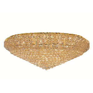 Belenus Gold Thirty-Six Light 48-Inch Flush Mount with Royal Cut Clear Crystal