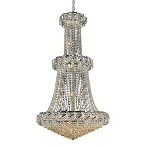 Belenus Chrome Thirty-Two Light 36-Inch Chandelier with Royal Cut Clear Crystal