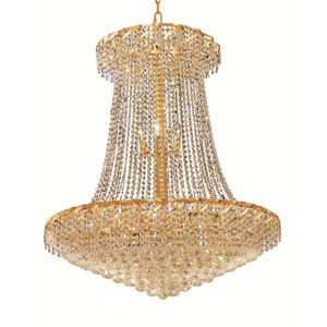 Belenus Gold Twenty-Two Light 36-Inch Chandelier with Royal Cut Clear Crystal
