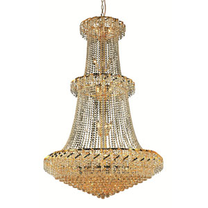 Belenus Gold Thirty-Two Light 42-Inch Chandelier with Royal Cut Clear Crystal