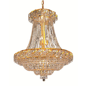 Belenus Gold Eighteen-Light 30-Inch Chandelier with Royal Cut Clear Crystal
