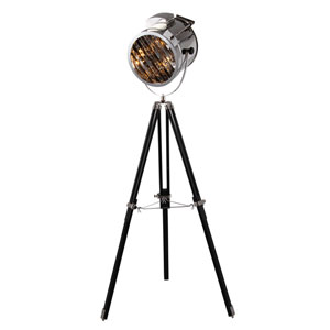 Ansel Tripod Chrome and Black Eleven-Inch Floor Lamp