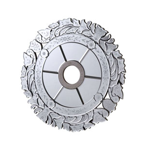 Mirrored Medallion Silver 24-Inch Leaf Medallion