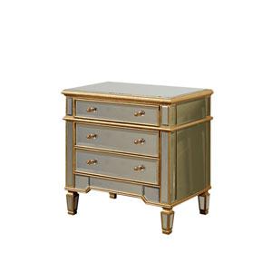 Florentine Gold Clear Mirror 30-Inch Three-Drawer Cabinet