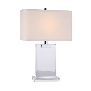 Regina Chrome 8-Inch Rectangular One-Light Table Lamp