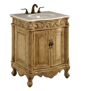 Antique Beige Wide Vanity Cabinet Only
