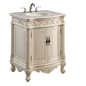 Antique White Wide Vanity Cabinet Only