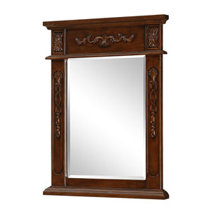 Brown Rectangular Mirror with Top and Side Detail