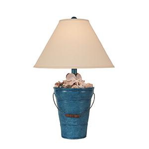 Coastal Living Deep Sea Blue One-Light Bucket of Shells Table Lamp