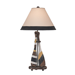 Coastal Living Weathered Walnut One-Light Sail Two-Paddle Table Lamp