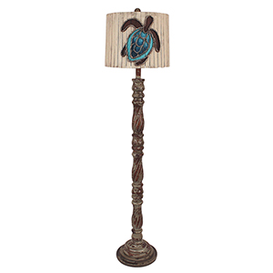 Coastal Living Pale Gray One-Light Swirl Floor Lamp