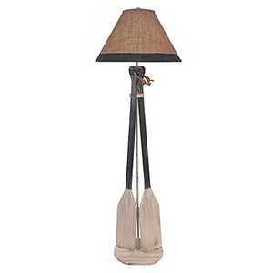 Coastal Living Brown One-Light Two-Paddle Floor Lamp