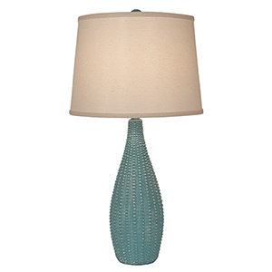 Coastal Living Weathered Turquoise Sea One-Light Beaded Vase Table Lamp