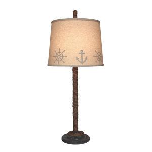 Coastal Lighting Weathered Navy Manila Rope with Painted Base One-Light Table Lamp