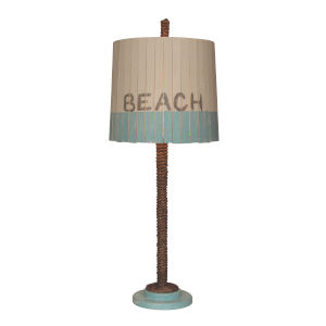 Coastal Lighting Weathered Turquoise Sea One-Light Table Lamp with White Beach Shade