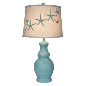 Coastal Lighting Weathered Turquoise Sea One-Light Table Lamp with Star Fish Shade