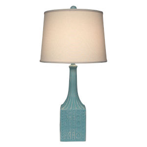 Coastal Lighting Weathered Turquoise Sea Square Base One-Light Table Lamp