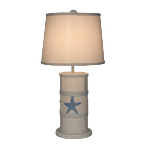 Coastal Lighting Weathered Nude with Periwinkle Accent Two-Light Table Lamp