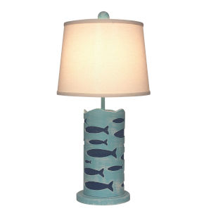 Coastal Lighting Weathered Turquoise Sea One-Light Round Table Lamp