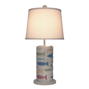 Coastal Lighting Cottage with Fun Color Accent One-Light Table Lamp
